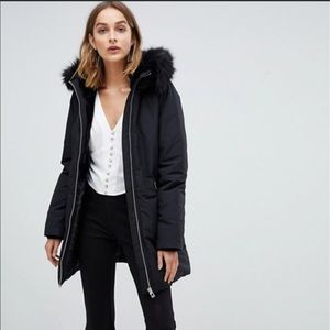 Stradivarius Parka with faux fur trim hood